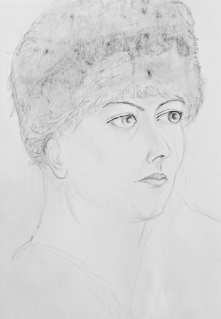 Portrait of a young girl in a fur hat. Pencil drawing on paper