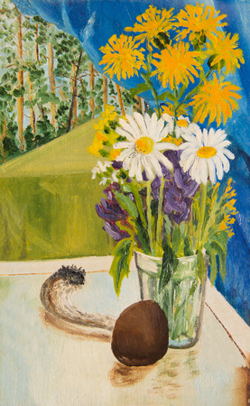 Bouquet of yellow and white flowers . Mushroom lies on the table
