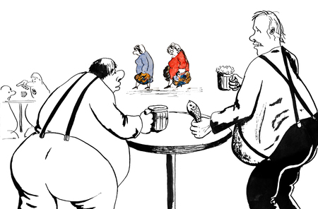 Two men drink beer and criticize fat women Stock Photo