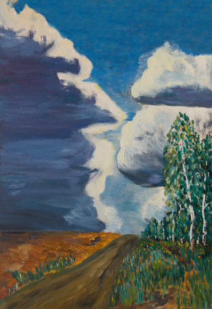 Summer landscape with country road and birch grove on the background of the storm sky Stock fotó