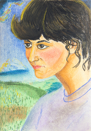 Portrait of a beautiful girl with black hair.  Drawing with crayons on paper