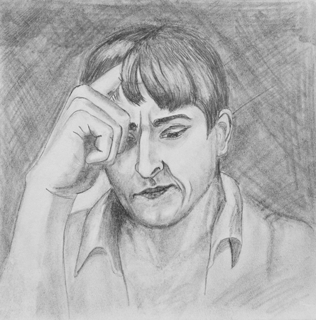 Portrait of a young man.The guys holding his hand on his head.  Pencil drawing on paper