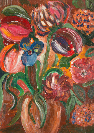 Beautiful abstract flowers. Oil painting