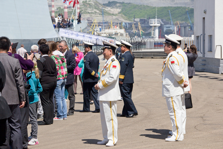 NOVOROSSIYSK, RUSSIA, MAY 9, 2015: Missile frigates naval forces of the Republic of China. People visiting the Chinese frigates