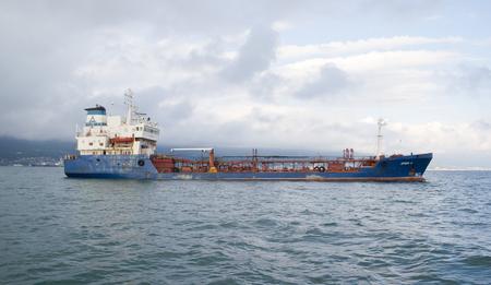 Russia, Novorossiysk - May 9, 2014:   Port the tanker Orion in the Tsemes Bay of Novorossiysk