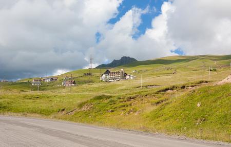 Gudauri, Georgia-August 6, 2013: View on ski resort Gudauri in summer. Beautiful mountain landscape with hotels.