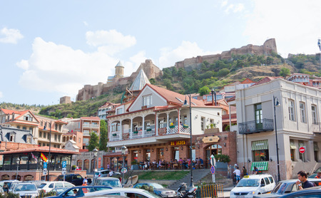 Tbilisi, Georgia-August 07, 2013: Hotels in old Tbilisi, at the foot of Narikala fortress