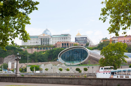Tbilisi, Georgia -August 8, 2013: The Official residence of Georgian President and construction of the concert hall