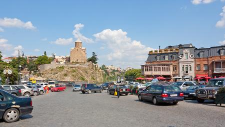 Tbilisi, Georgia-August 07, 2013: Cityscape in old Tbilisi, near Metekhi Church