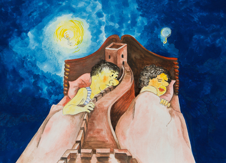 An allegory of the breakdown of the marriage. Caricature Stock Photo