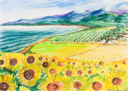 Rural landscape with sunflowers. A small village by the sea and mountains in the background. Painting 版權商用圖片