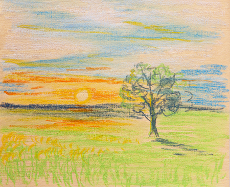 Lonely tree lit by the rays of the setting sun. Painting 版權商用圖片