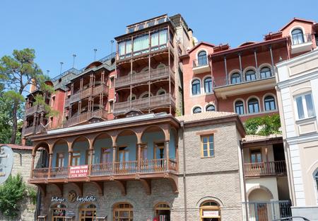 Tbilisi, Georgia-August 07, 2013: Hotel in the historic district of Avlabari