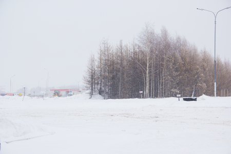 Aleksandrovka, Tatarstan, Russia-January 3, 2017: The road covered with snow. Gas station Transneft on the highwayUral.