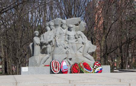 Krasnodar, Russia- March 31, 2018: Memorial to the victims of Nazi terror in Chistyakov grove. 新聞圖片