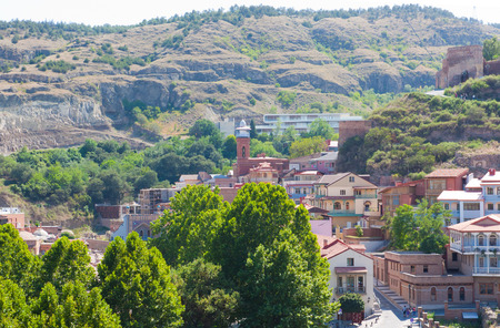 Tbilisi, Georgia-August 07, 2013: Old Tbilisi district. Muslim mosque at the foot of Narikala fortress