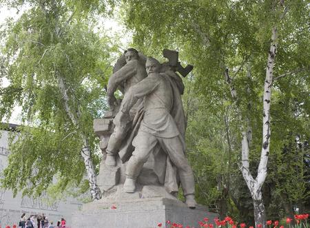 VOLGOGRAD,  RUSSIA - MAY 8, 2011. Sculpture in the historical memorial complex Mamaev Kurgan in Volgograd