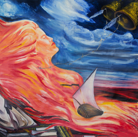 Allegory of poetry. Poetry is compared to fire, water and wind Stock fotó