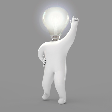 small lamp: Lamp, human, 3d render Stock Photo