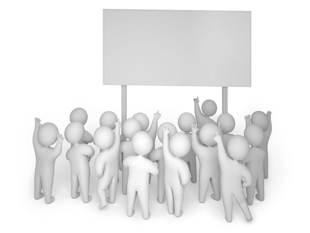group objects: 3d render crowd billboard Stock Photo