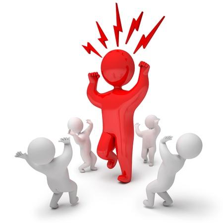 jefe enojado: Las personas enojadas, render 3d