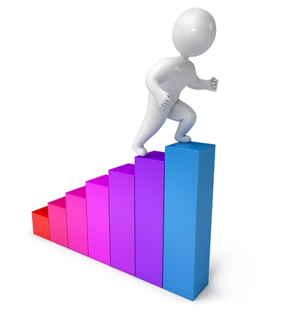 career up: Chart climbing people, 3d render