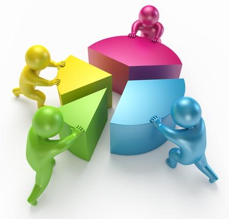 empleados trabajando: Las personas se conectan las partes de la figura, 3d