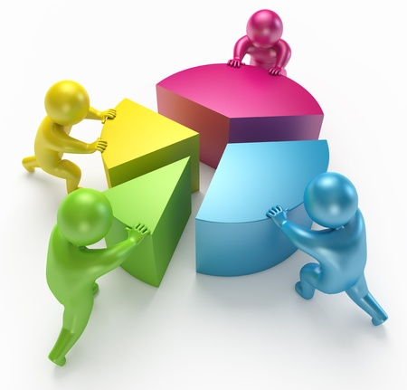 People connect parts of the diagram, 3d render