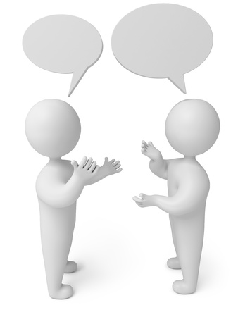 interact: Two men talk amiably, 3d render