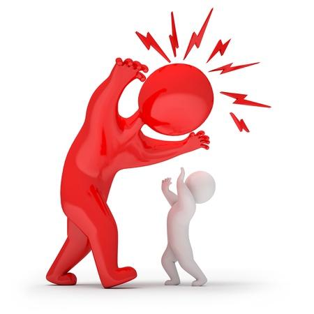 jefe enojado: Hombre asustadizo amenaza y los ataques, 3d Foto de archivo