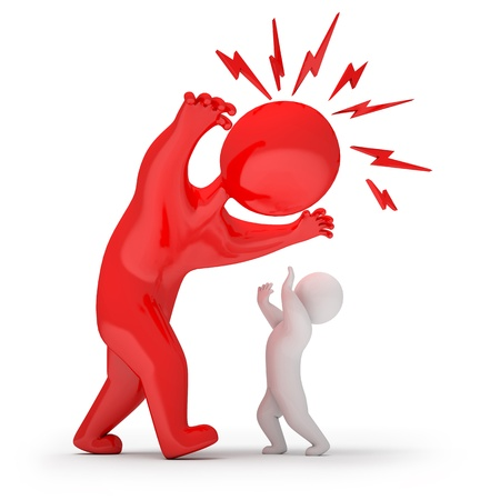 enfant fach�: Scary homme menace et les attaques, render 3d