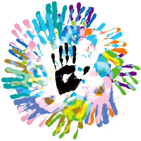 Multi-colored handprints, on a white background photo