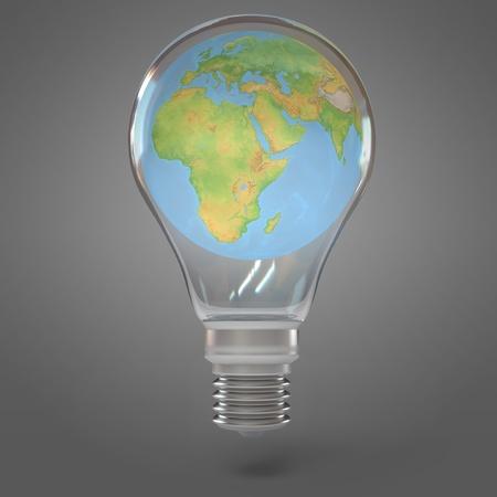 Globe inside the lamp, 3d render photo