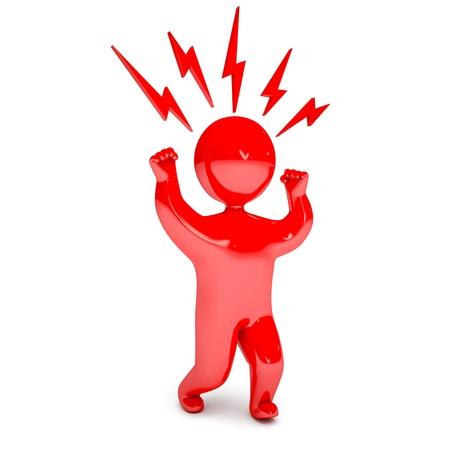 personne en colere: Agression de personnes, render 3d