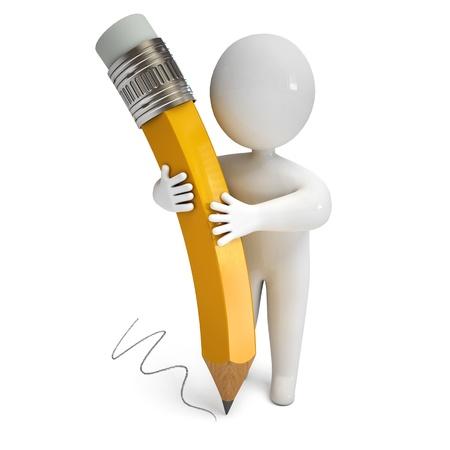 schreiben: Person mit einem Bleistift, 3d render