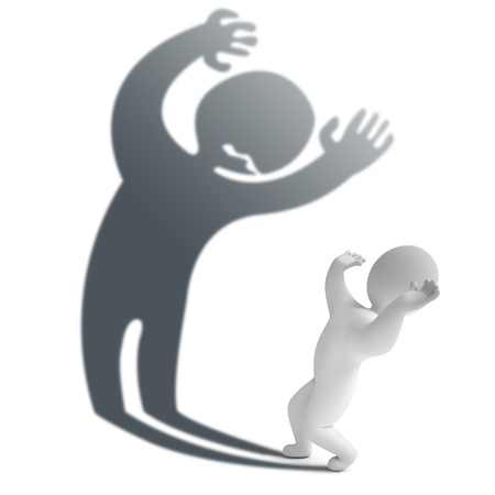 hombre asustado: Una persona que tiene miedo de su propia sombra, 3d Foto de archivo