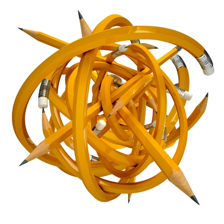 secretarial: Yellow pencil caught in a tangle, 3d render Stock Photo