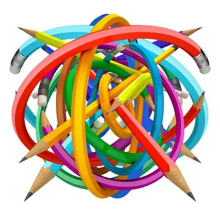 Crayons ball, 3d render Stock Photo - 11196334