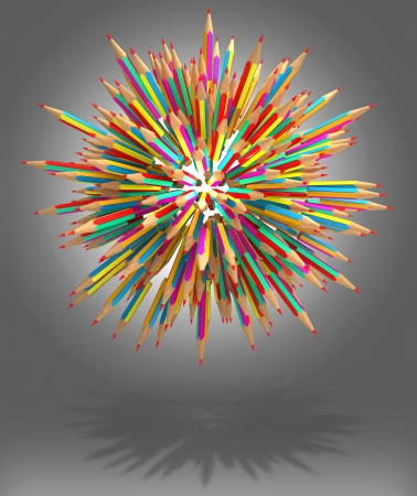 Color pencil caught in a tangle, 3d render photo
