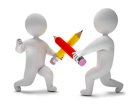3d character: Two men fighting with pencils, 3d render Stock Photo