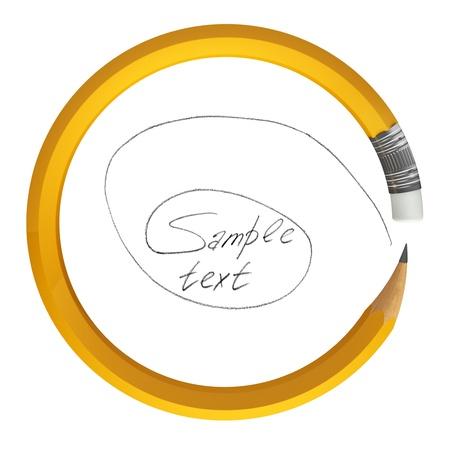 secretarial: Pencil bent in a circle, 3d render Stock Photo