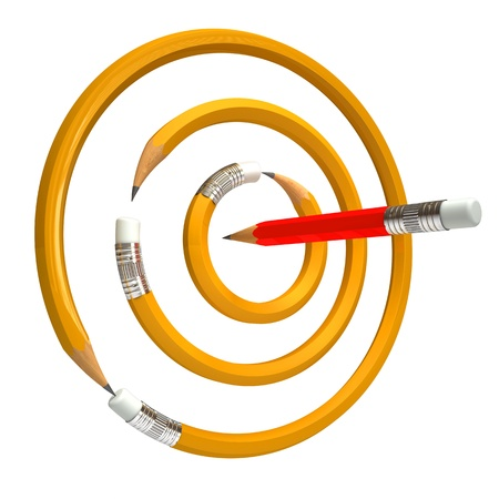 red pencil: Pencil bent in a circle, 3d render Stock Photo