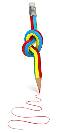 Pencil knot, 3d render Stock Photo - 11196281