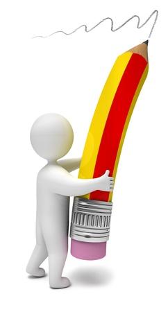 secretarial: Person writes a pencil, 3d render