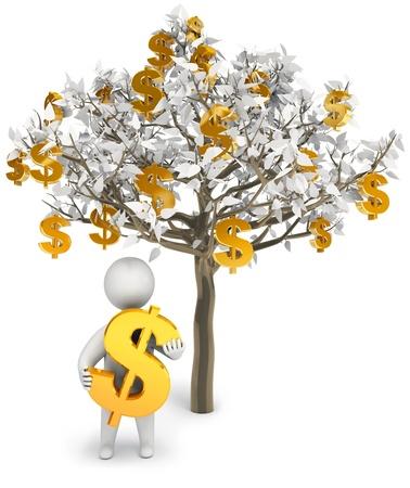 money tree: Grow business, 3d render