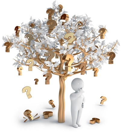 Question marks people tree, 3d render photo