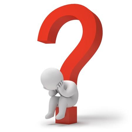 answer question: Uomo seduto su un punto interrogativo, rendering 3d
