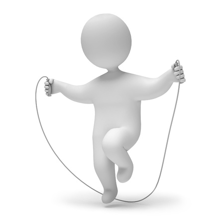 Man jumping rope, 3d render photo
