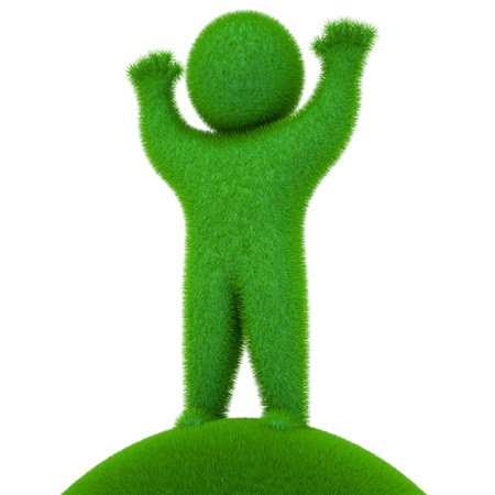 Green people, grassy, 3d render Stock Photo - 11196355