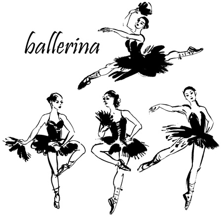 classical theater: Four dancing ballerina, monochrome picture